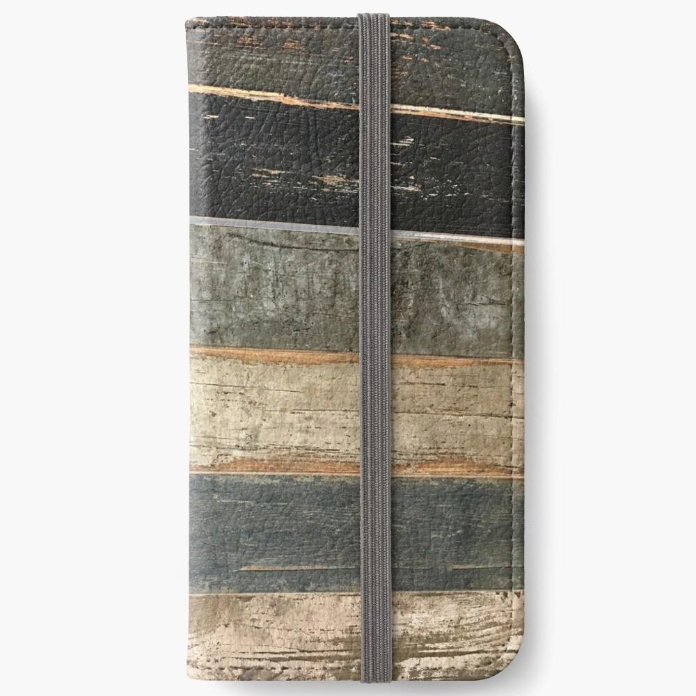 Distressed Strand rustikalen Land Bauernhaus chic teal Scheune Holz iPhone Flip-Case