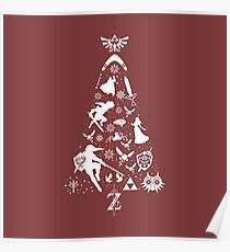 Zelda Christmas Tree Silhouette Poster