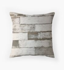 beachy shabby chic french country white washed wood Throw Pillow