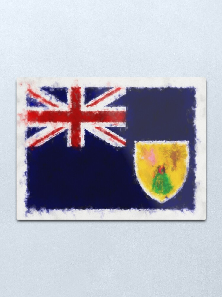 Alternate view of Turks And Caicos Islands Flag Reworked No. 66, Series 5 Metal Print