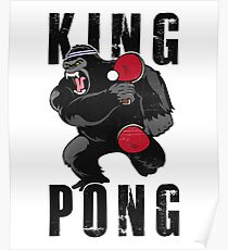 Vintage King Pong - Ping Pong Table Tennis T-Shirt Poster