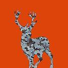 Big Rack Hunter (Women & Bucks) - Big Buck in Grey and Smoky Blue Camo  by LoveOfDictums