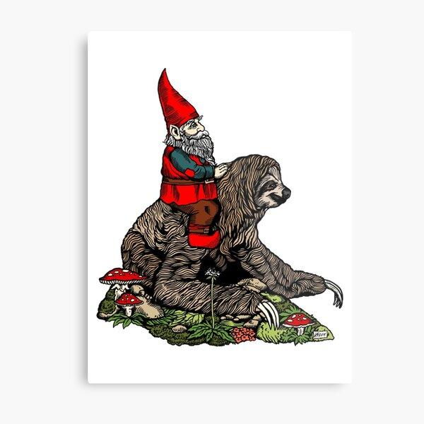 Gnome Riding a Sloth Metal Print