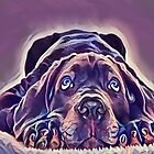 Rottweiler With Sad Eyes Looking Up by Sunleil