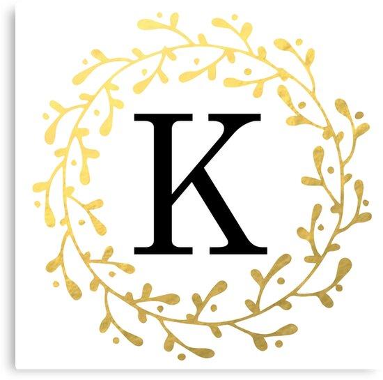 Monogram Letter K   Personalised   Black and Gold Design