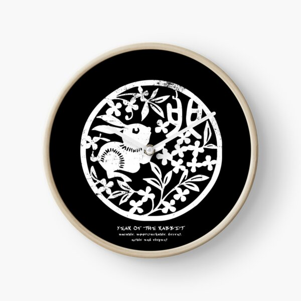 Chinese Zodiac Year of the Rabbit Woodcut  Clock