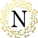 Monogramm-Buchstabe N | Personalisiert | Schwarz und Gold Design von PraiseQuotes