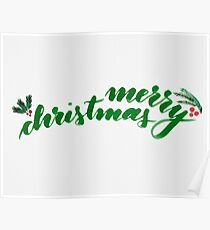 Merry Christmas - green Poster
