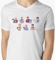 Camiseta para hombre de cuello en v BTS con sus amigos BT21 !!!