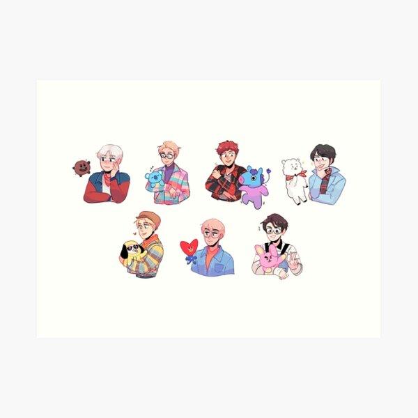 BTS con sus amigos !!! Lámina artística