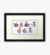 BTS with their BT21 friends!!! Framed Print