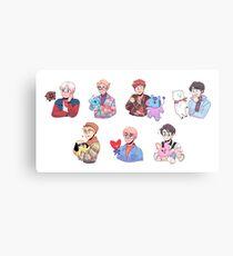 BTS with their BT21 friends!!! Metal Print