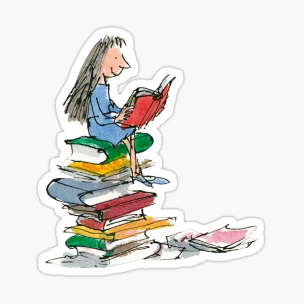illustration aquarelle de matilda roald dahl Sticker