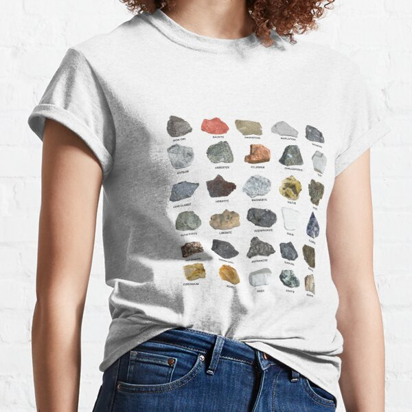 Gems and Crystals Ores and Minerals Rock Collecting Chart Classic T-Shirt