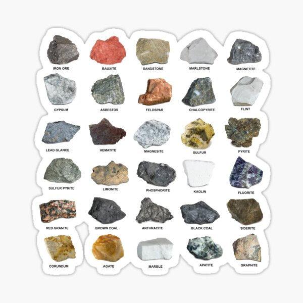 Gems and Crystals Ores and Minerals Rock Collecting Chart Sticker
