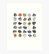 Gems and Crystals Ores and Minerals Rock Collecting Chart Art Print
