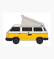 classic yellow bus camper Photographic Print