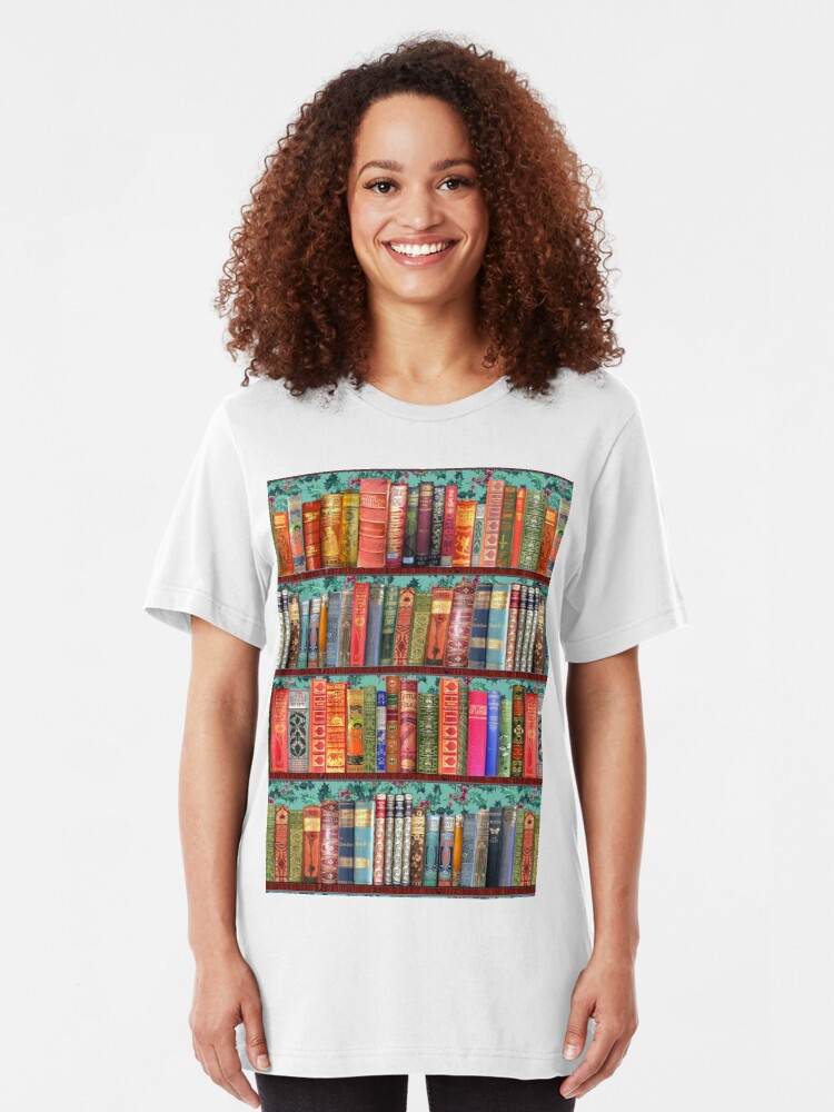 Alternate view of Christmas vintage books, holly  Slim Fit T-Shirt