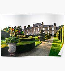 Regular garden in little french castle, sunset time, France Poster
