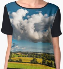 Big white cloud over the colorful valley, sunset time, Brittany, France Women's Chiffon Top