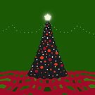 Merry Christmas Decorated Tree in Green and Red by Melissa J Barrett