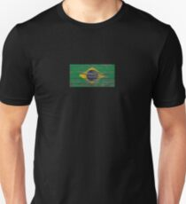 Flag of Brazil on Rough Wood Boards Effect Unisex T-Shirt