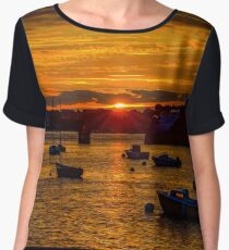 Beautiful orange sunset on the seaside in Brittany, France Women's Chiffon Top