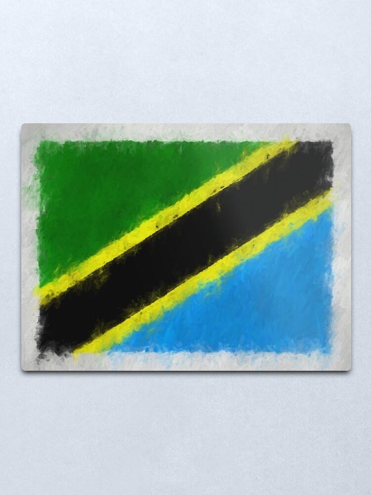 Alternate view of Tanzania Flag Reworked No. 66, Series 4 Metal Print