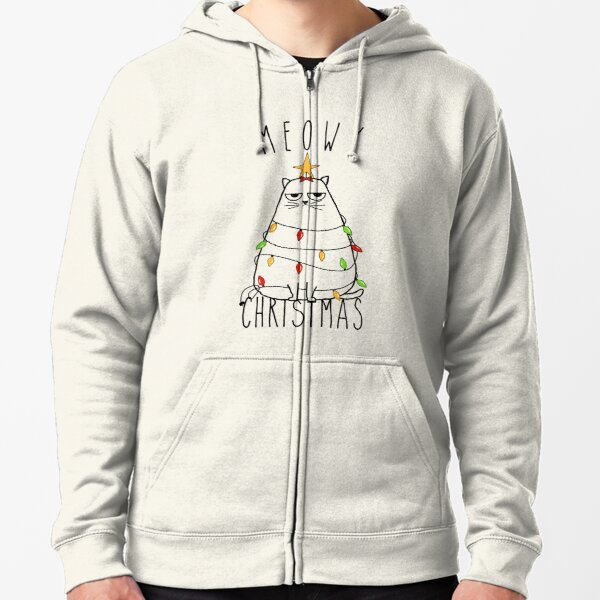 Funny Cat Meowy Christmas Zipped Hoodie