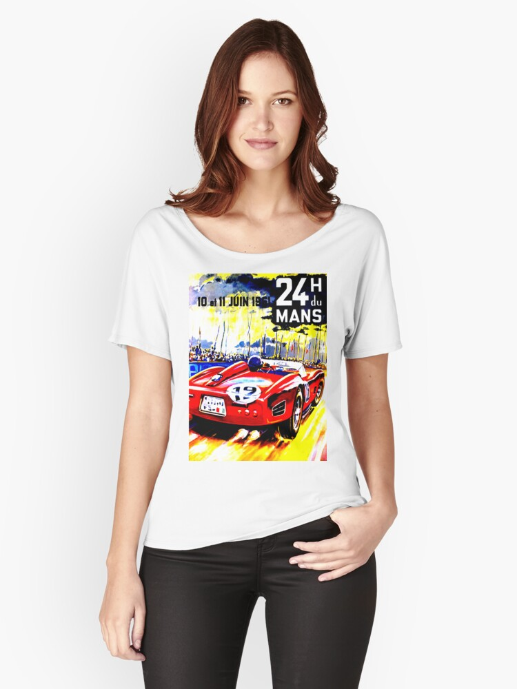 """""""MANS"""" Vintage Grand Prix Auto Race Advertising Print Women's Relaxed Fit T-Shirt Front"""