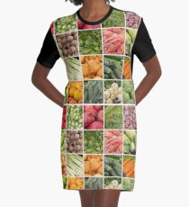 Fruits and Vegetables Collage Graphic T-Shirt Dress