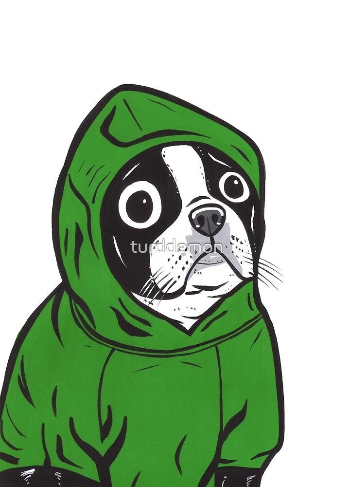 Boston Terrier Green Hoodie by turddemon