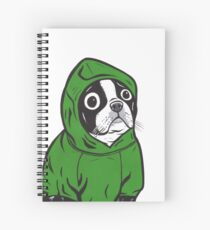 Boston Terrier Green Hoodie Spiral Notebook
