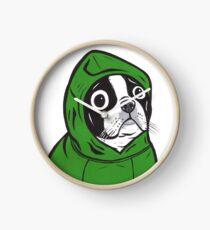 Boston Terrier Green Hoodie Clock