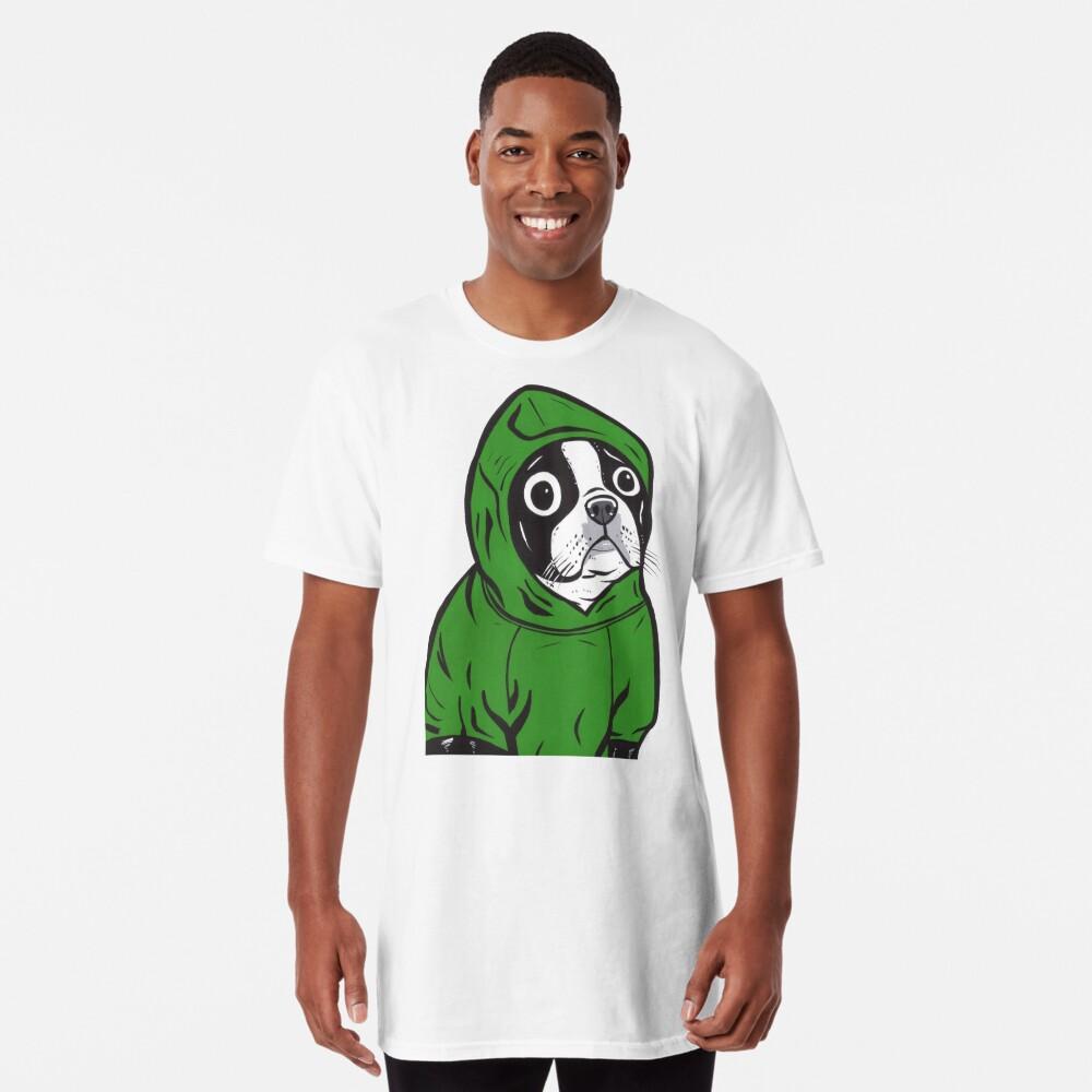 Boston Terrier Green Hoodie Long T-Shirt