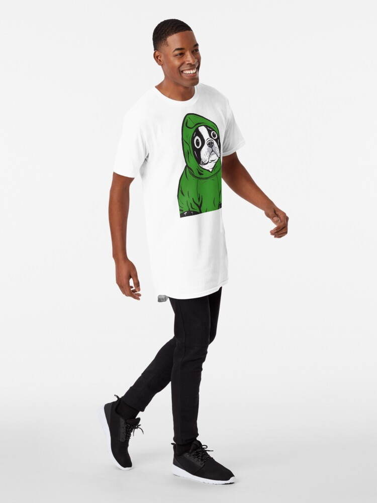 Alternate view of Boston Terrier Green Hoodie Long T-Shirt