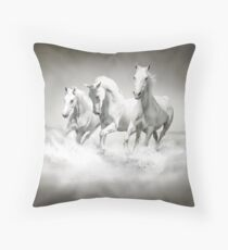 Wild White Horses Throw Pillow