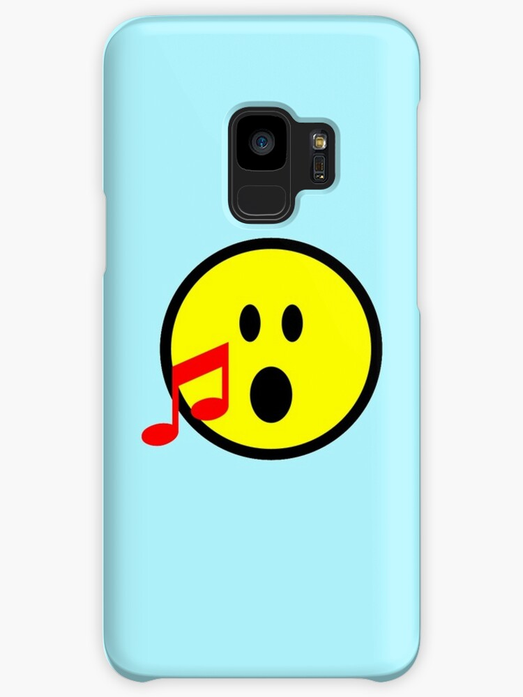 Yellow Singing Smilie Face Emoji With Red Musical Note Cases