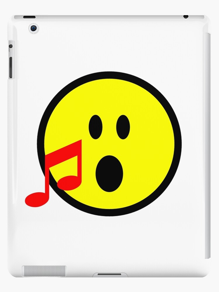 Yellow Singing Smilie Face Emoji With Red Musical Note Ipad Cases