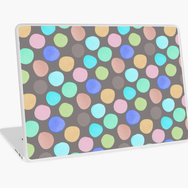 Watercolor Polka Dots on Taupe Laptop Skin
