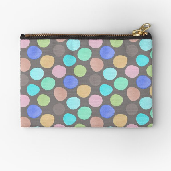 Watercolor Polka Dots on Taupe Zipper Pouch
