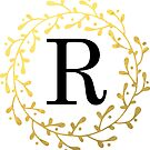 Monogramm-Buchstabe R | Personalisiert | Schwarz und Gold Design von PraiseQuotes