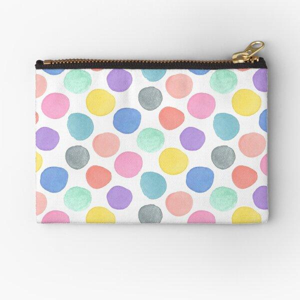 Watercolor Polka Dots on White Zipper Pouch