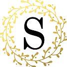 Monogramm-Buchstabe S | Personalisiert | Schwarz und Gold Design von PraiseQuotes