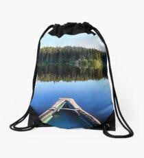 Canoeing on Lonely Lake Drawstring Bag