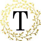 Monogramm-Buchstabe T | Personalisiert | Schwarz und Gold Design von PraiseQuotes