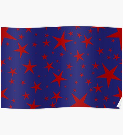 NDVH Stars (red on blue) Poster