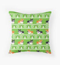8-bit Corgi Christmas Sweater Throw Pillow