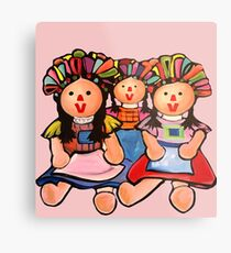 Mexican Maria  Dolls In Pink  Metal Print