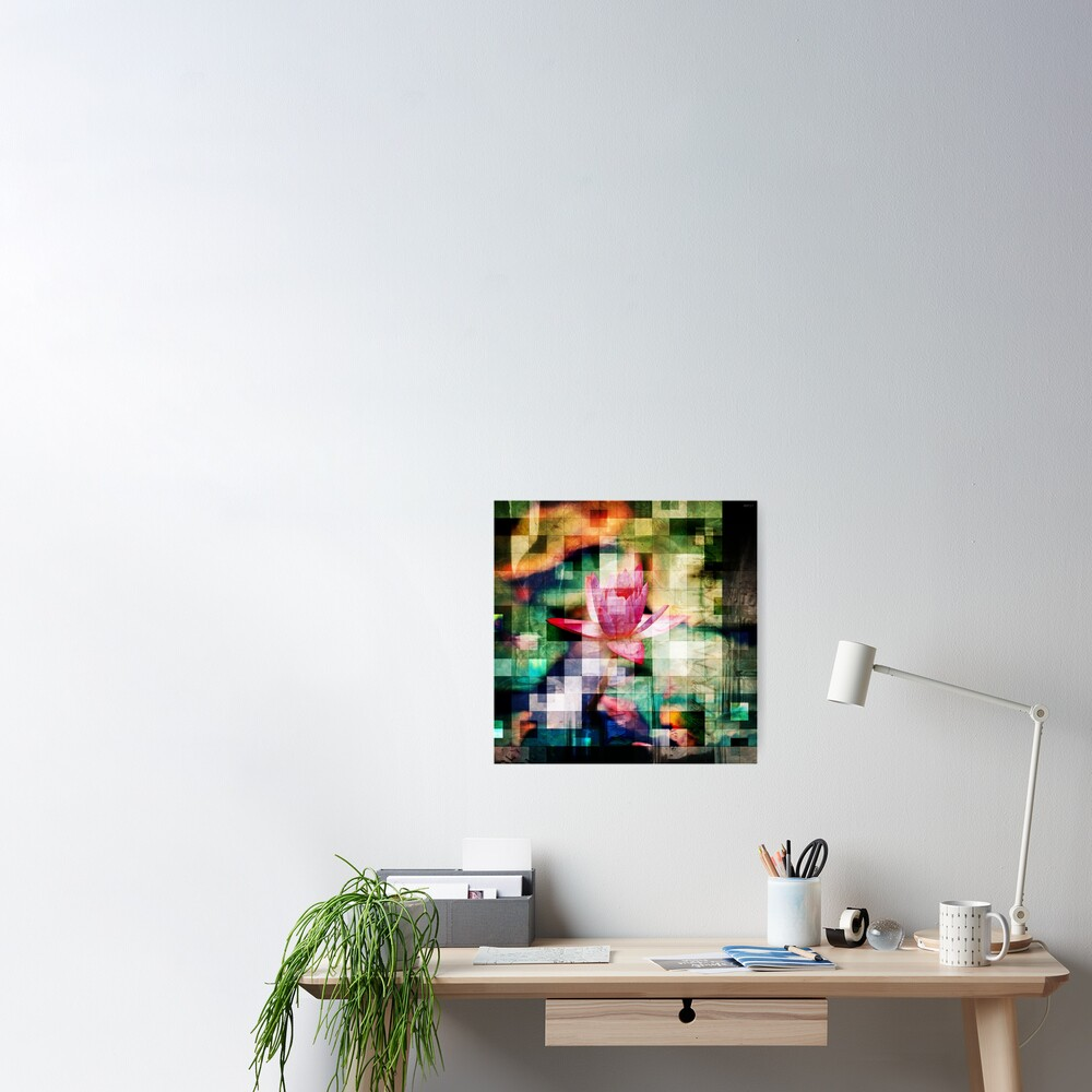 Abstract Flowers And Glass Mosaic Poster